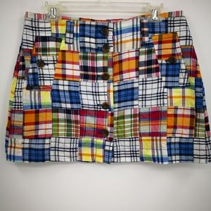 J Crew Women's SP07 Madras Patchwork Mini Skirt